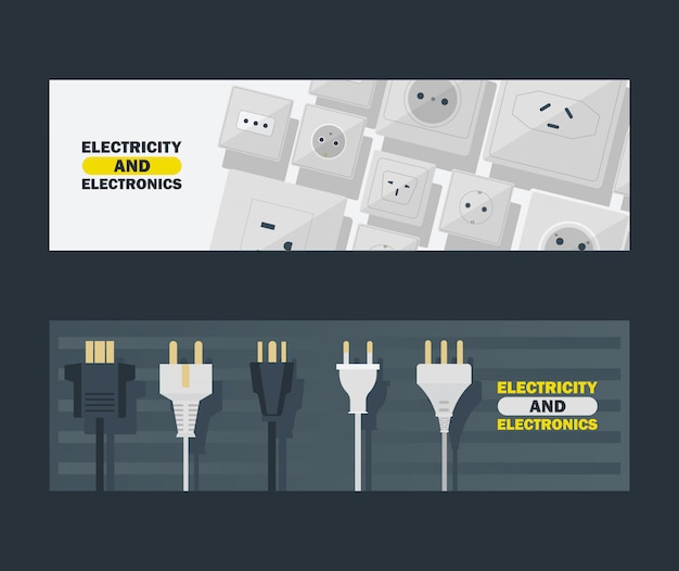 Strom- und elektroniksatz der fahnenvektorillustration. schwarzweiss-stecker und steckdose.