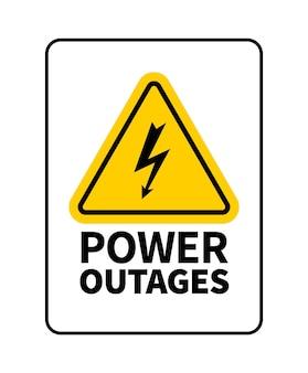Stromausfälle vektor-logo oder zeichen isoliert auf weißem hintergrund. blitzzeichen in dreiecksform