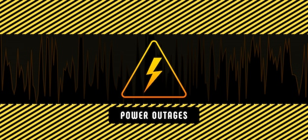 Stromausfall mit gelbem dreieckigem warnsymbol