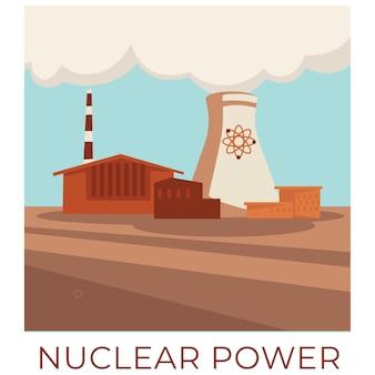 Stromerzeugung im kernkraftwerk, akkumulierung und erzeugung von strom für den bedarf der bürger. hochspannung und grund für die globale erwärmung. kontamination mit chemischen dämpfen, vektor in flach