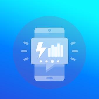 Stromverbrauch-symbol mit telefon