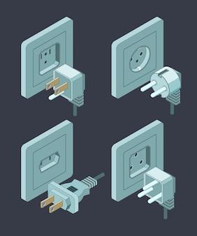 Stromversorgungsart, elektrischer leistungsschalter-hausisolierungsenergiestecker isometrisch