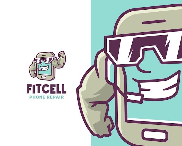 Strong fit smartphone-charakter-logo-vorlage