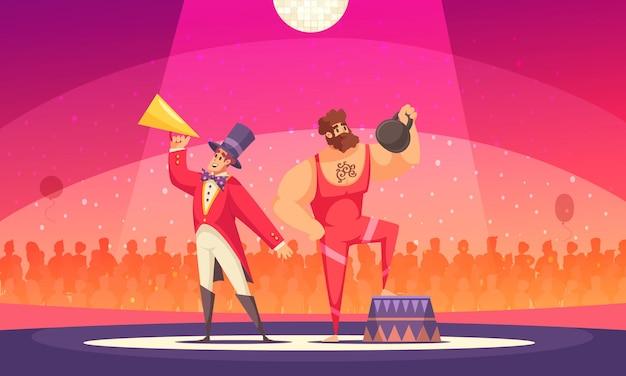 Strongman mit gewichtsstück und showmoderator bei zirkuskarikatur