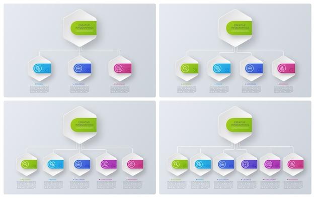 Strukturdiagramme im modernen stil, infografik-designs, visualisierungsvorlagen. illustration