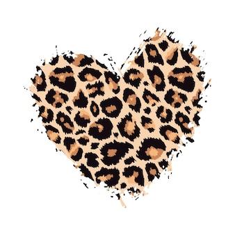 Strukturierter handgezeichneter pinselstrich mit leopardenmuster, herzform, farbfleck, tierhautmuster