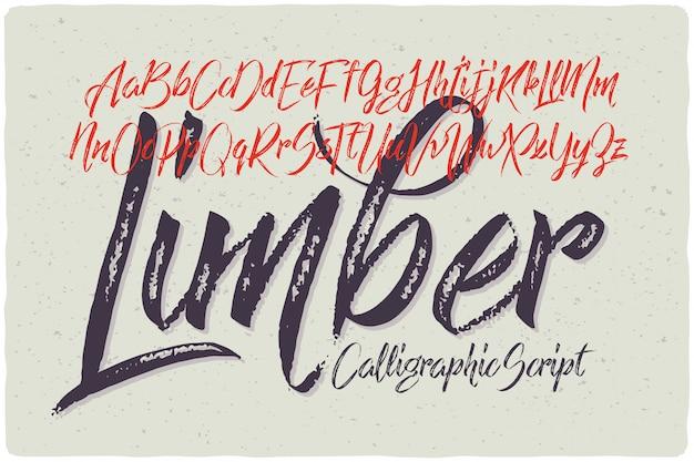 Strukturierter kalligraphischer schriftsatz