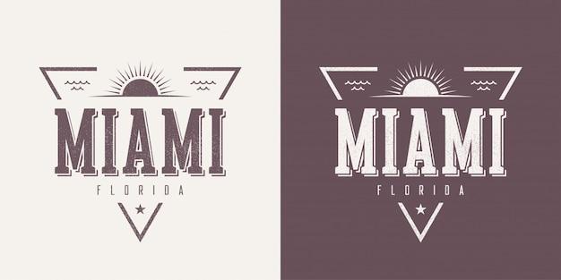 Strukturiertes vintage-t-shirt und kleidung miami miami florida