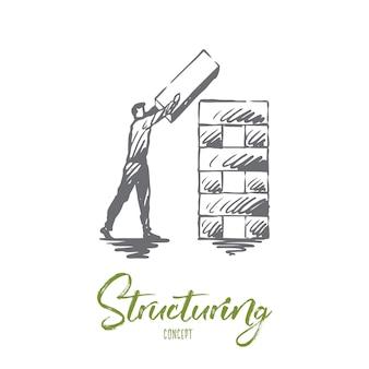 Strukturierung, element, organisation, unternehmenskonzept. hand gezeichneter mann, der strukturkonzeptskizze organisiert.