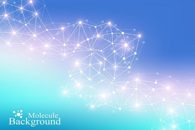 Strukturmolekül-atom-dna und kommunikationshintergrund. konzept der neuronen. verbundene linien mit punkten. illusionsnervensystem. medizinischer wissenschaftlicher illustrationshintergrund.