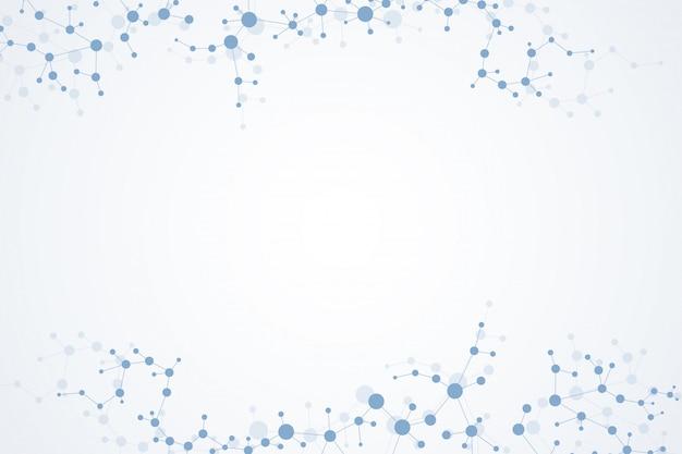 Strukturmolekül und kommunikation. dna, atom, neuronen. wissenschaftlicher hintergrund