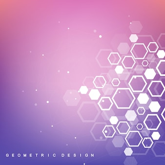 Strukturmolekül und kommunikation. dna, atom, neuronen. wissenschaftlicher molekülhintergrund für medizin, wissenschaft, technologie, chemie. geometrische dynamische vektorillustration.