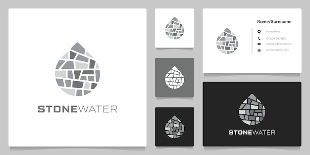 Strukturstein- und wassergrafiksymbol hochbau-logo-design mit visitenkarte