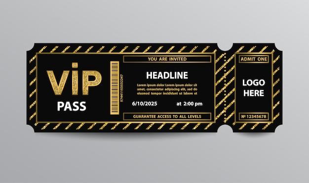 Stub vip pass ticket stub mit glitzernden elementen