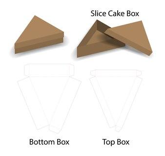 Stück Kuchen oder Sandwich-Box-Modell mit Dieline