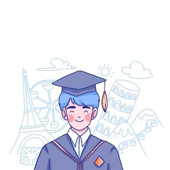 Student boy charakter illustration. student studiert im ausland.