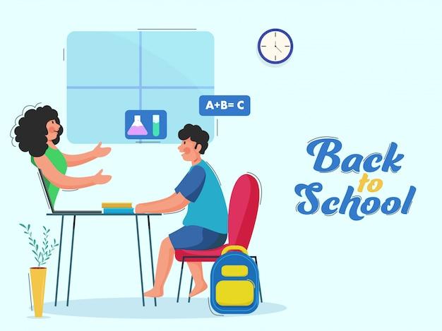 Student boy lesung vom lehrer im laptop mit büchern am schreibtisch für back to school-konzept.