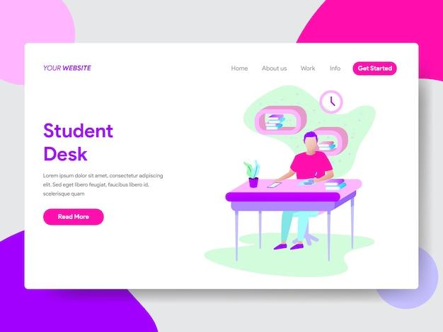 Student, der auf schreibtischillustration konzept für webseiten lernt