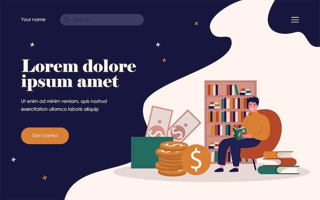 Student, der finanzen studiert. junger mann liest buch über geld flachbild vector illustration. finanzielle bildung, lernkonzept für banner, website-design oder landing-webseite