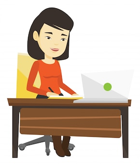 Student, der laptop für bildung benutzt.