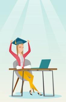 Student, der laptop für bildung verwendet.