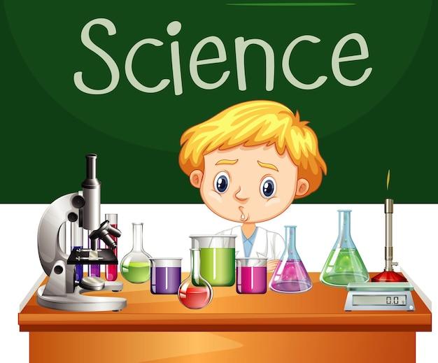Student der naturwissenschaften, der im labor arbeitet