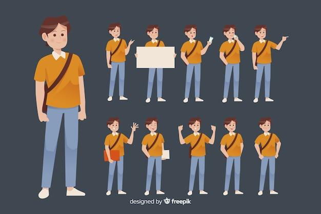 Student, der verschiedene aktionen durchführt