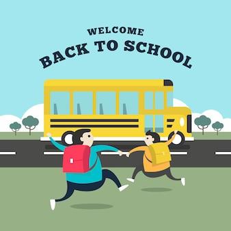 Student, der zum bus läuft, um zur schule zu gehen.