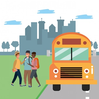 Student diverse gruppenbushaltestelle