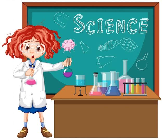 Student im wissenschaftsklassenzimmer, das mit werkzeugen arbeitet