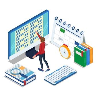 Student machen online-prüfung am großen computer. isometrische e-learning-illustration. vektor