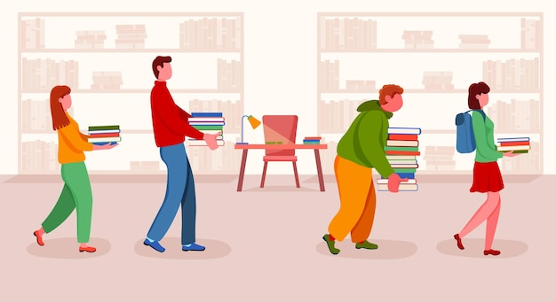 Student mit bücherstapelwarteschlange in der schulbibliothek der universität. diverse teenager-gruppen und highschool-hochschulbildung, literaturlernen, wissen und kognitionsvektorillustration