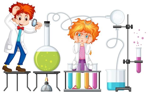 Student mit experimentellen chemiegegenständen