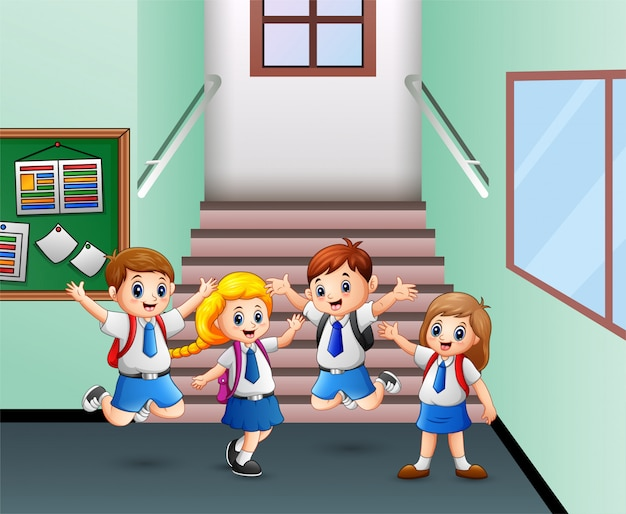Student nach der schule nach hause gehen