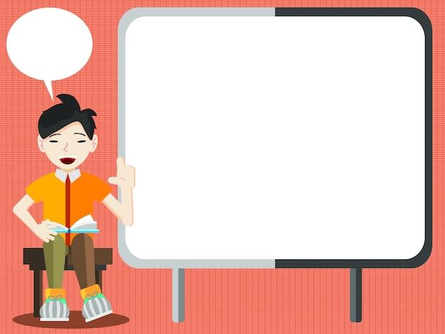Student oder geschäftsmann erklärt die informationen über leere präsentationstafel