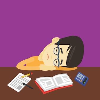 Student schläft am schreibtisch mit buch.