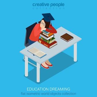 Student träumt von büchern am schreibtisch, der auf der flachen isometrischen sammlung des stuhls sitzt. bildungsgeschäftskonzept. kreative personensammlung.
