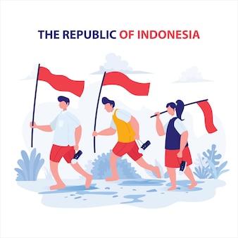 Student tragen flagge für unabhängigkeitstag indonesien