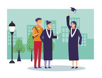 Studenten-Abschluss-Karikaturen