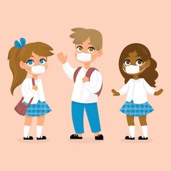Studenten, die gesichtsmaskenkonzept tragen