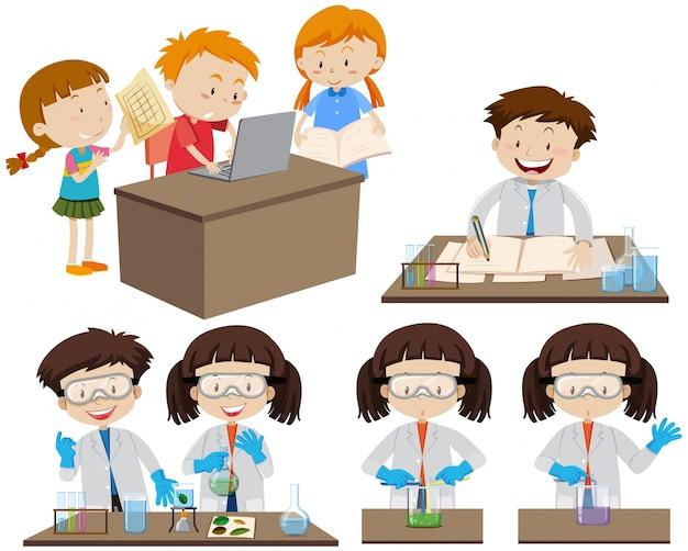 Studenten, die im labor und auf computer arbeiten