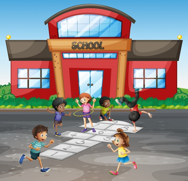 Studenten, die in der schule hopse spielen
