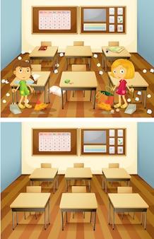 Studenten, die klassenzimmerset säubern