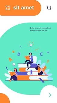 Studenten, die lehrbücher studieren. frau sitzt auf stapel bücher und liest