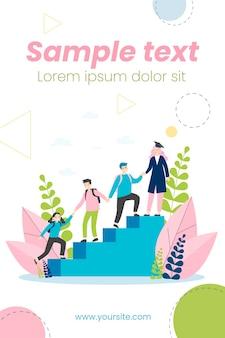 Studenten, die sich gegenseitig helfen, illustration nach oben zu klettern