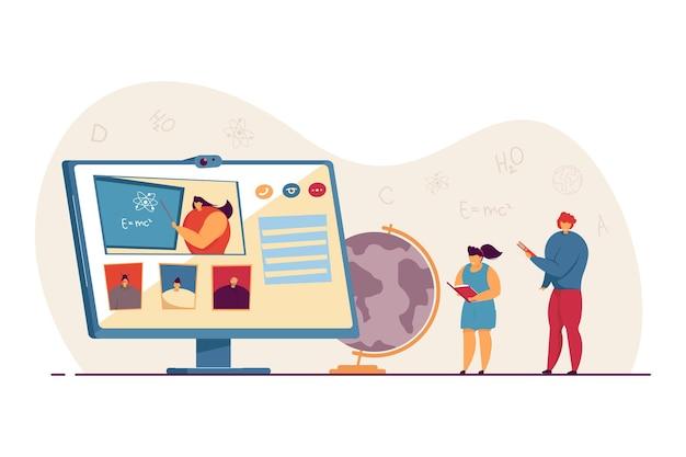 Studenten, die wissenschaftliche online-konferenzen oder -vorträge ansehen. winzige kinder mit büchern, physiklehrer auf flacher vektorgrafik des computerbildschirms. online-bildungskonzept für banner, website-design