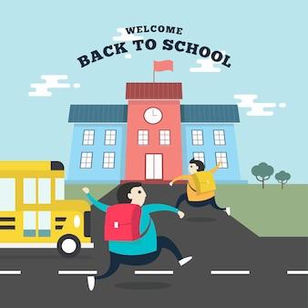 Studenten, die zur schule laufen.