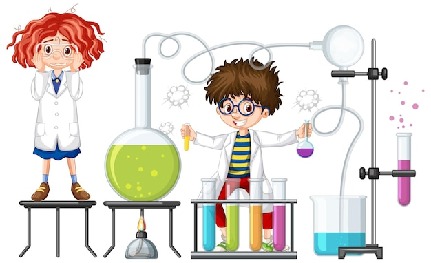 Studenten experimentieren mit chemiegegenständen illustration isoliert