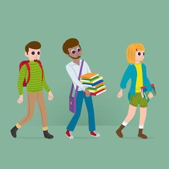 Studenten gehen zur universität