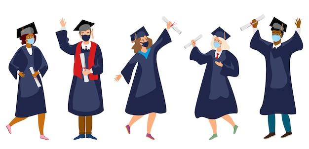 Studenten in medizinischen masken absolventen in medizinischen schutzmasken feiern den abschluss